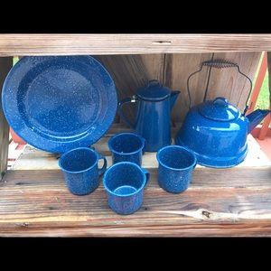 Vintage blue enamelware lot